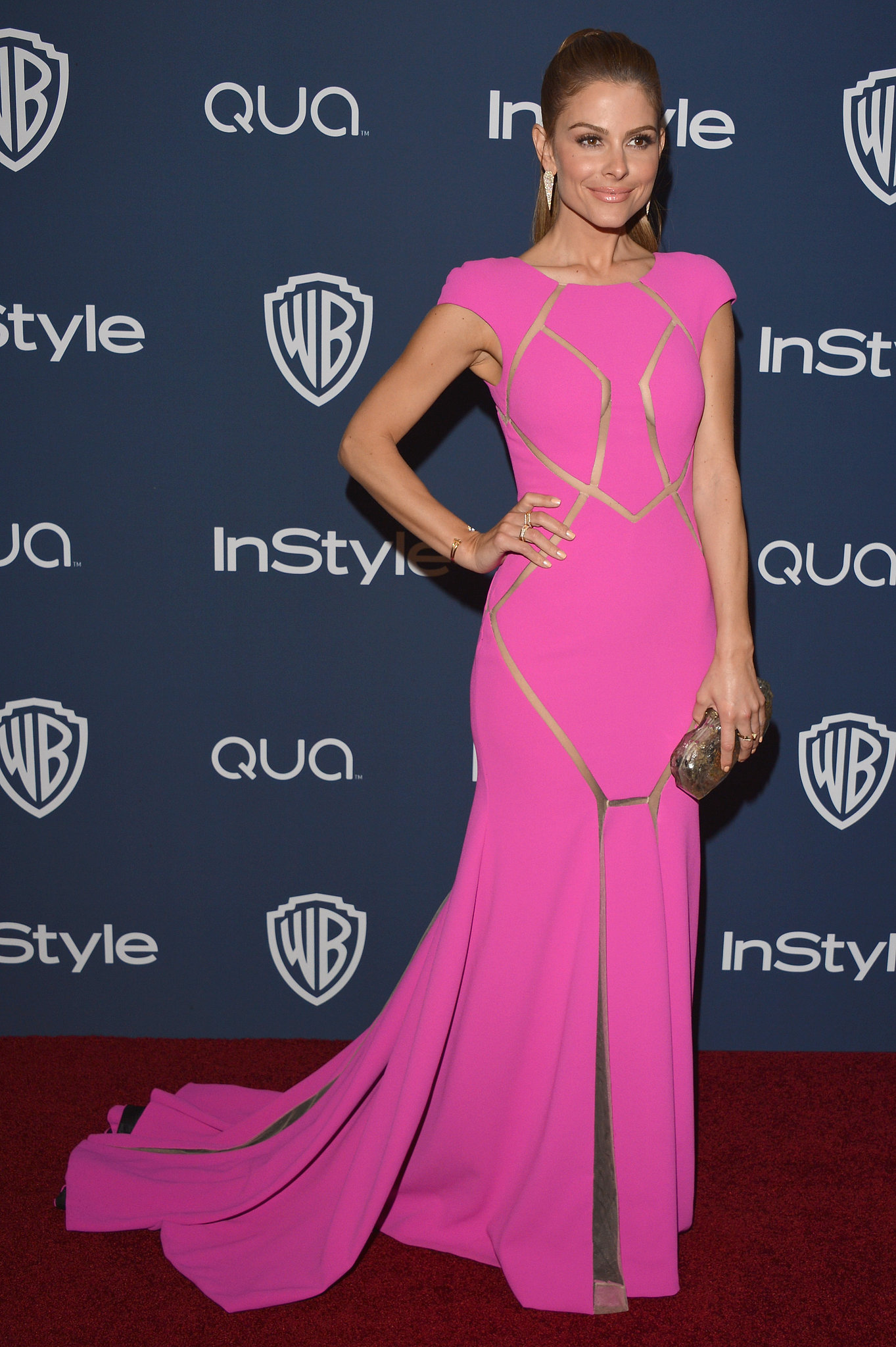 Maria Menounos went with a bright pink gown.