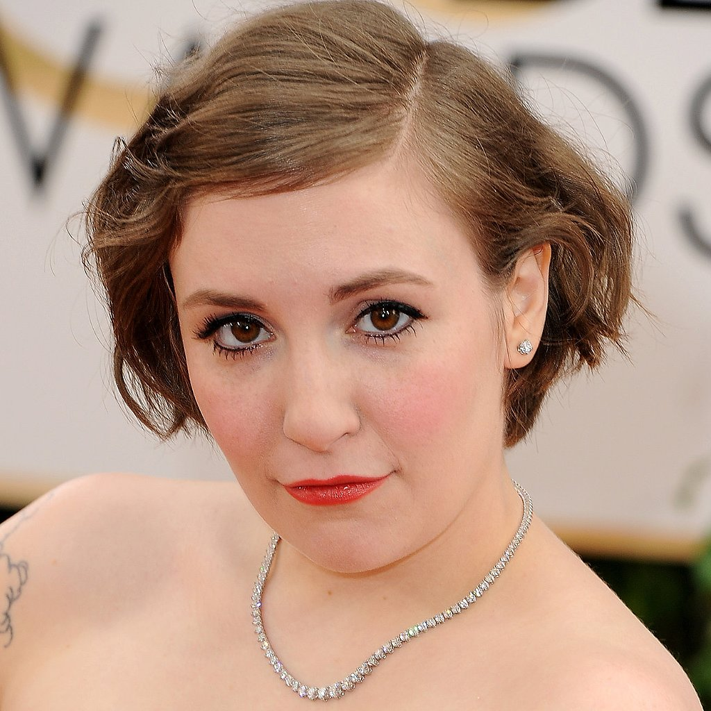 Lena Dunham's Hair and Makeup at Golden Globes 2014