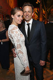 Seth Meyers held on tight to his new wife, Alexi Ashe.