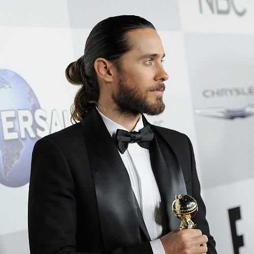 Jared Leto's Hair in a Ponytail at Golden Globes 2014