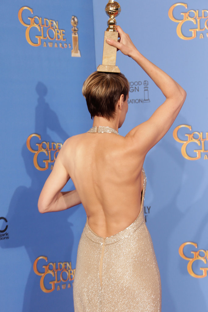Winner Robin Wright showed off her impressive back, along with her trophy.
