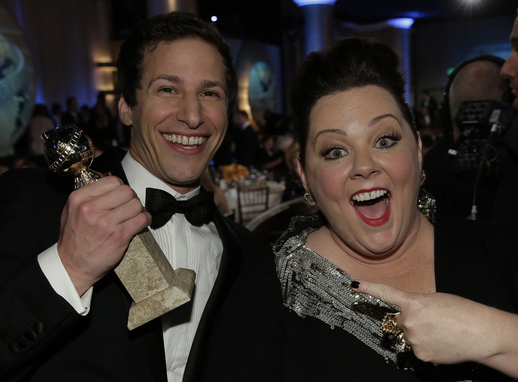 Melissa McCarthy helped Andy Samberg celebrate his big win.  Source: Paul Drinkwater/NBC/NBCU Photo Bank/NBC
