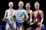 Polina Edmunds, Gracie Gold, Marai Nagasu, and Ashley Wagner all posed at the US figure skating championships. Despite placing fourth, Ashley is going to the Olympics, rather than Marai.
