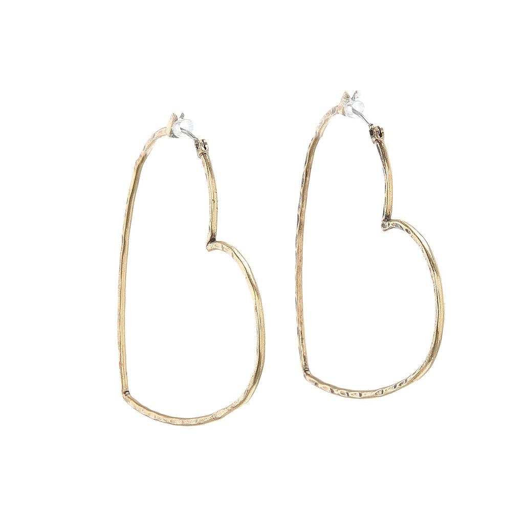 Lucky Brand Heart Hoop Earrings