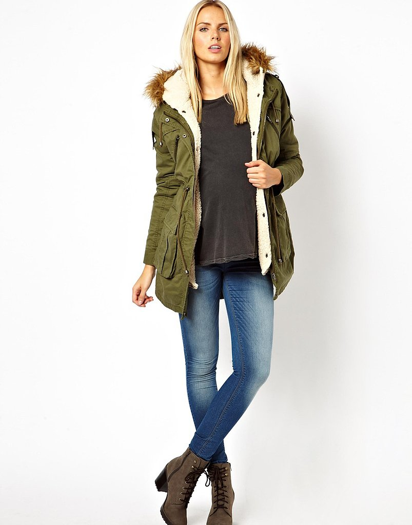 ASOS Maternity Parka With Detachable Faux Fur Lining