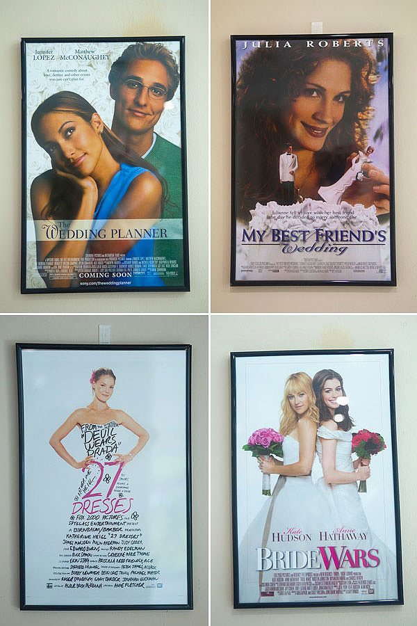 This easy and inexpensive project adds a big punch. Order wedding movie posters, pop them in cheap frames, and hang them around the room. Photos by Serendipity Studios
