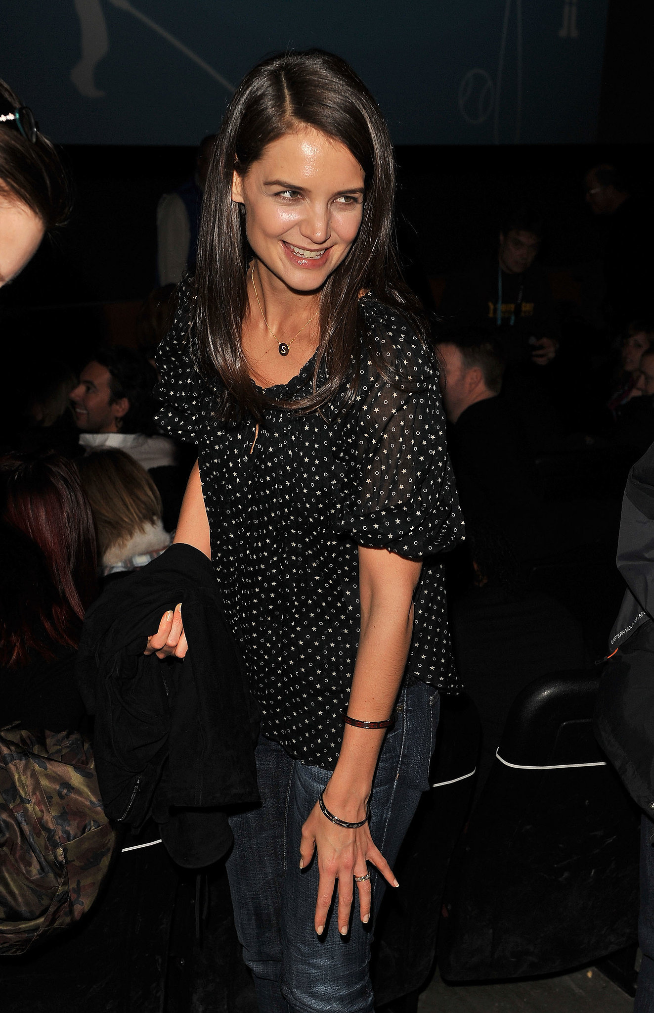 Katie Holmes looked pretty in polka dots at the premier