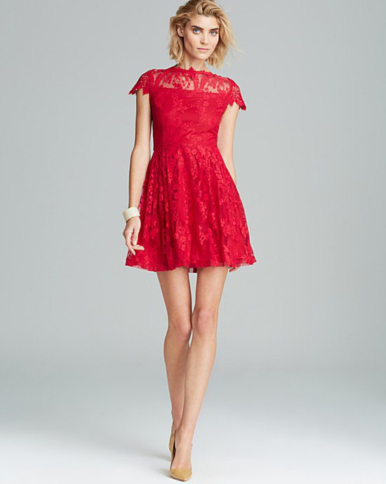 Cynthia Steffe Red Lace Dress
