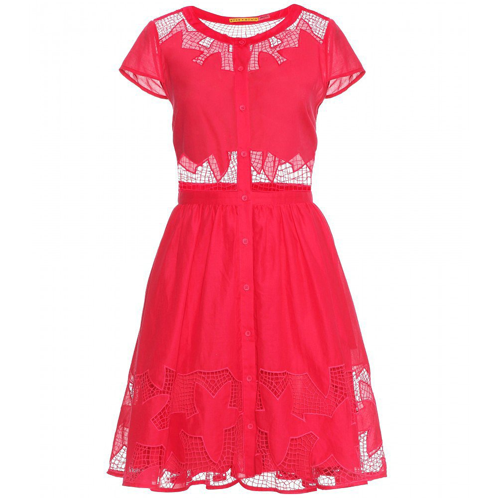 Alice + Olivia Red Lace Cutout Dress