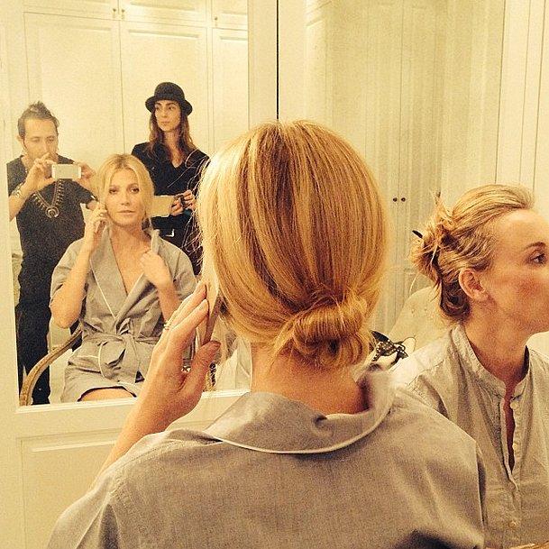 Hairstylist Adir Abergel snapped Gwyneth Paltrow's elegant chignon  before the Golden Globes. Source: Instagram user hairbyadir