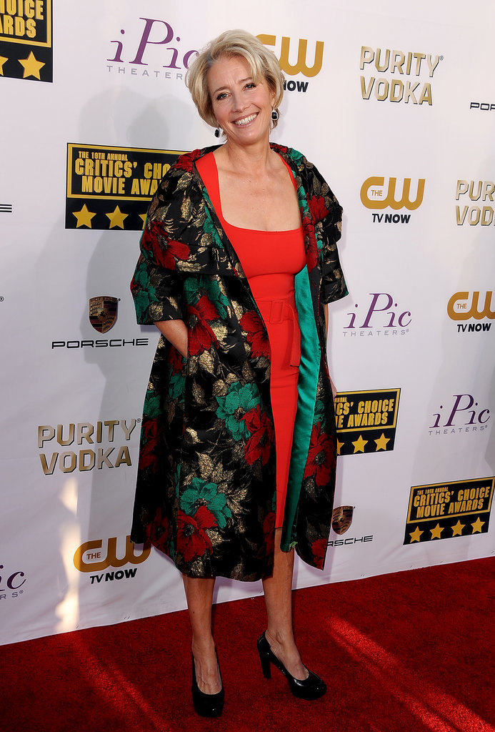 Emma Thompson was all smiles in a printed coat.