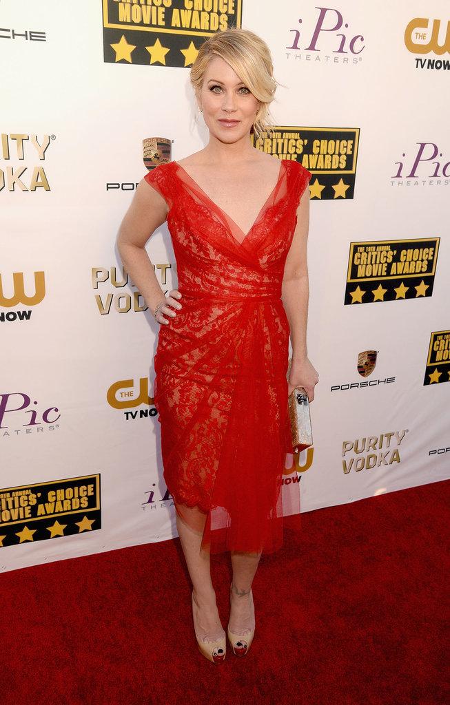 Christina Applegate showed off her frame in a red v-neck dress.