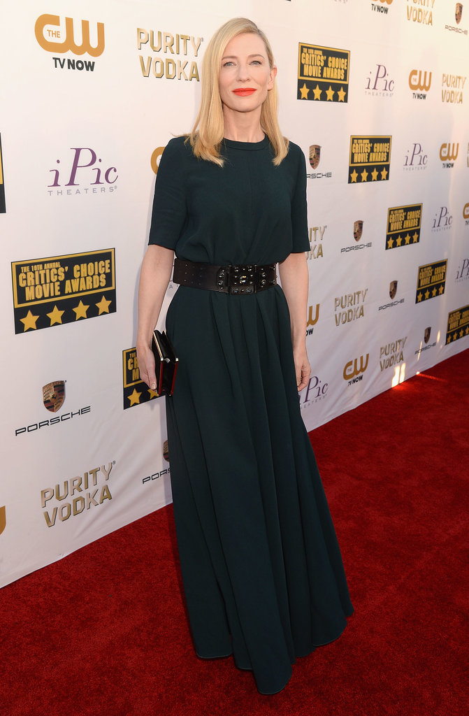 Cate Blanchett wore a dark green dress for her night at the CCAs.