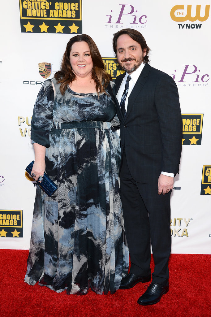 Melissa McCarthy and Ben Falcone posed for pictures.