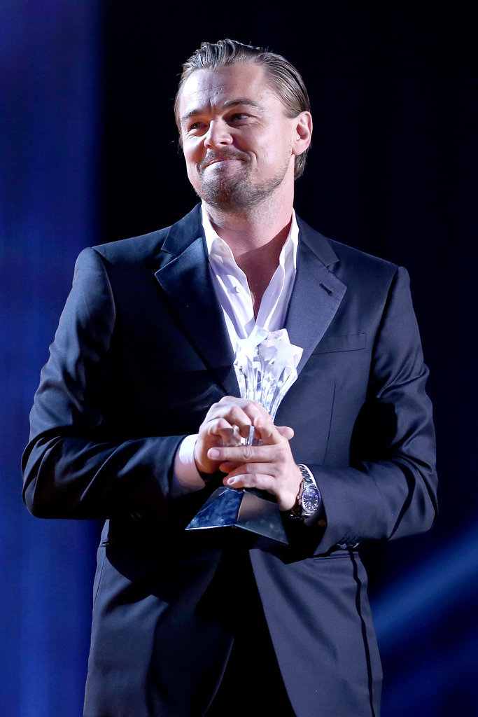 Leo accepted his award for best actor in a comedy.