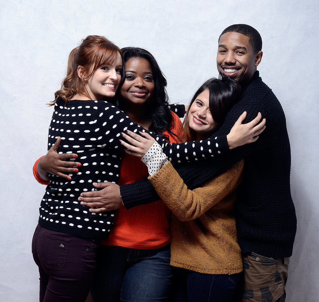 The stars of Fruitvale Station — Ahna O'Reilly, Octavia Spencer, Melonie Diaz and Michael B. Jordan — took a sweet snap together while promoting the film in 2013.
