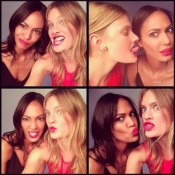 Taking life less seriously, Joan Smalls and Constance Jablonski posed for silly snaps. Source: Instagram user joansmalls