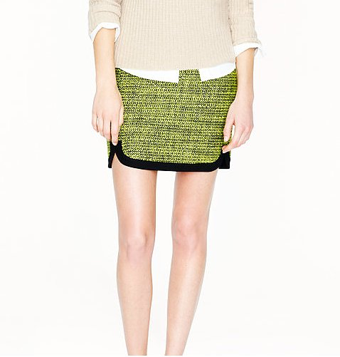 J.Crew Shirttail Mini in Piped Tweed ($80, originally $128)