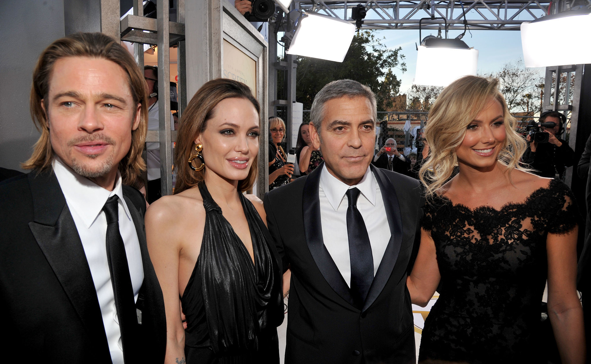 Brad Pitt, Angelina Jolie, George Clooney, and Stacy Keibler made a double date out of the award show in LA in 2012.