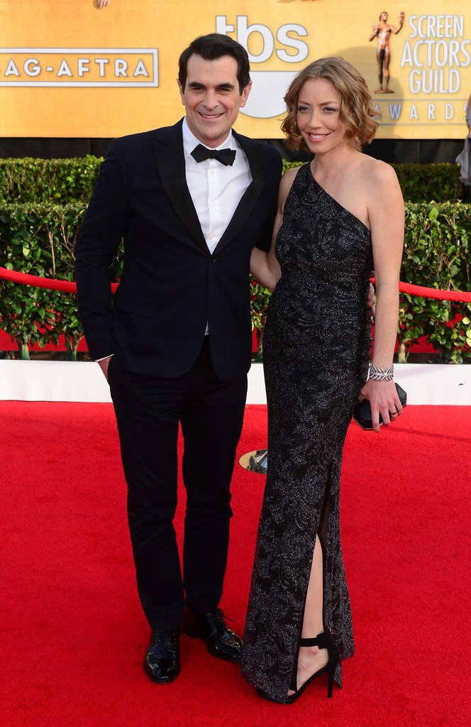 Modern Family's Ty Burrell and his wife, Holly Anne Brown, posed for pictures on the red carpet.