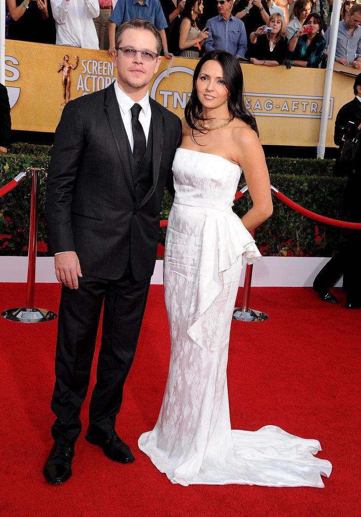 Matt and Luciana Damon made a stunning pair at the SAG Awards.
