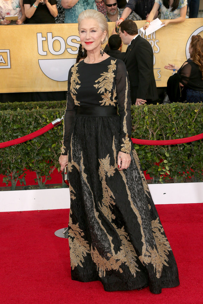 Helen Mirren made a statement in her black-and-gold gown.