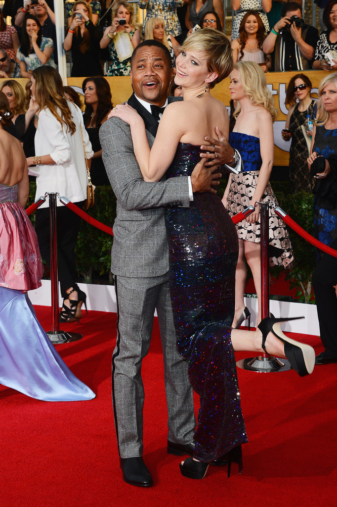 Jennifer Lawrence and Cube Gooding Jr. had a silly red carpet moment.