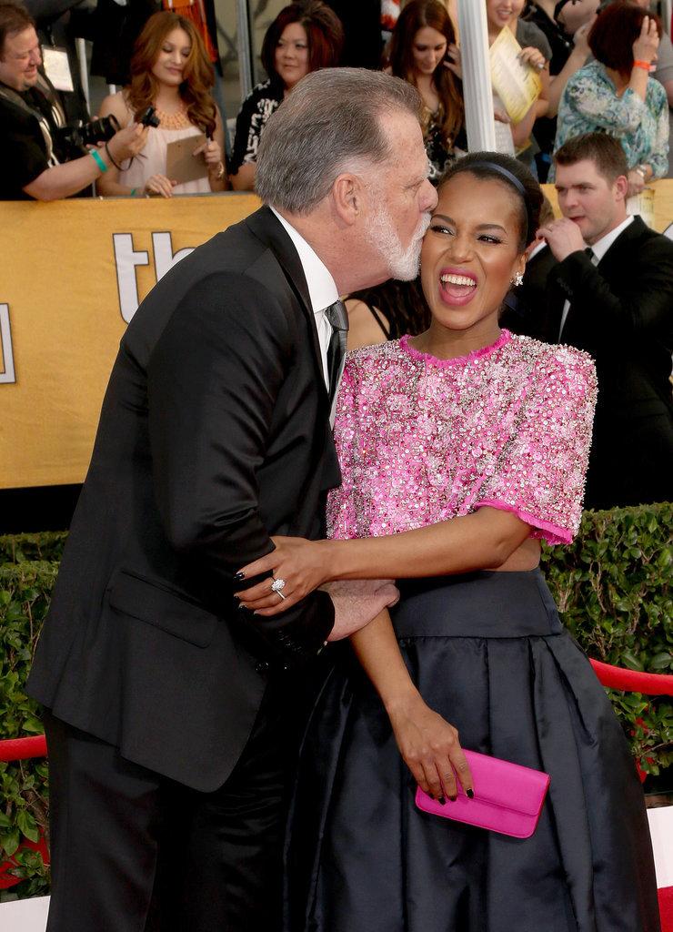 At the Screen Actors Guild Awards, Kerry Washington couldn't resist a kiss from Taylor Hackford.