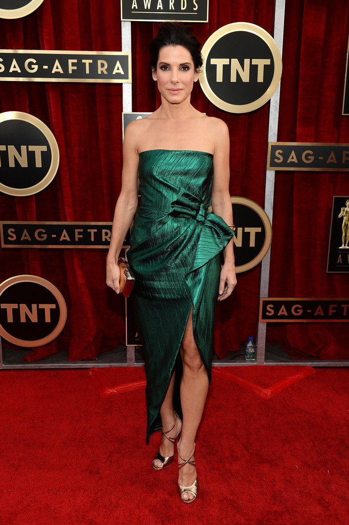 Sandra Bullock rocked a green Lanvin gown for her night at the SAGs.