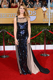 Claire Danes was all smiles with a darker 'do and sequined gown on the SAG Awards red carpet.