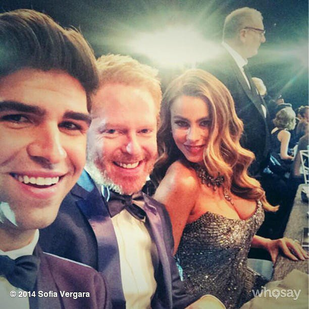 Sofia Vergara struck a pose alongside Jesse Tyler Ferguson and Justin Mikita. Source: Instagram user sofiavergara