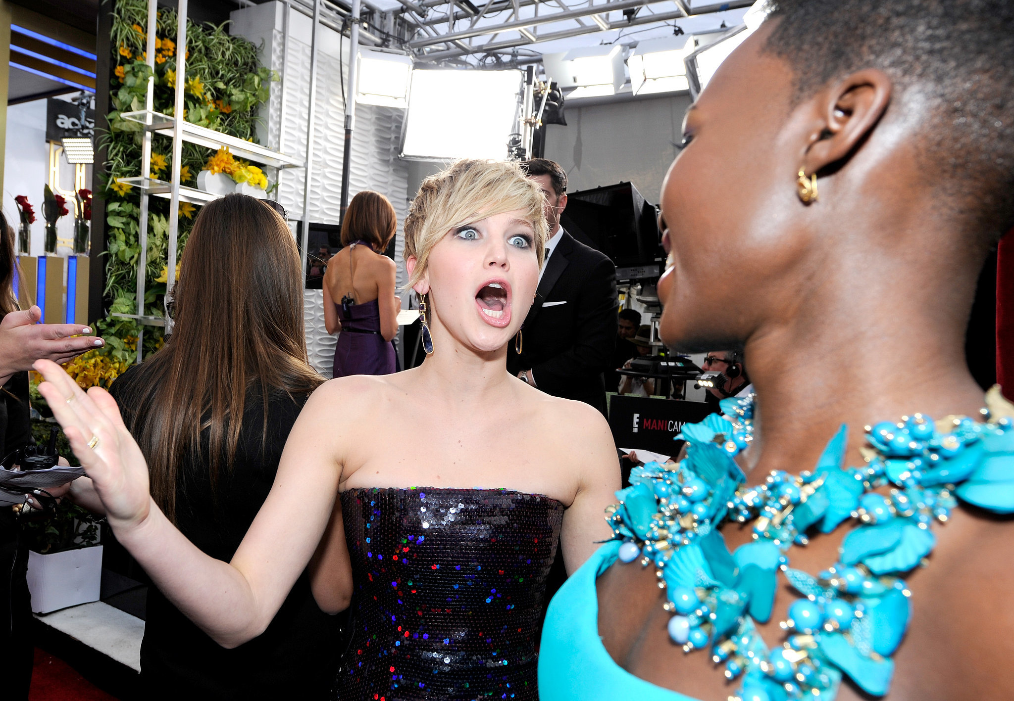 Jennifer Lawrence couldn't contain her excitement for Lupita Nyong'o on her way into the SAGs.