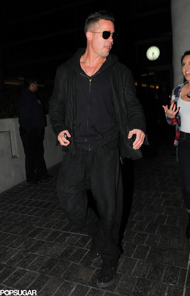 Brad Pitt Is Chipper Even After an International Flight
