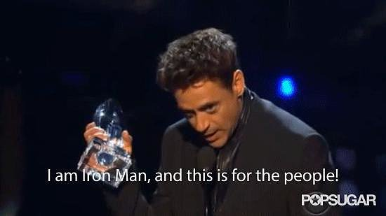 Robert Downey Jr. Pretends to Be Iron Man