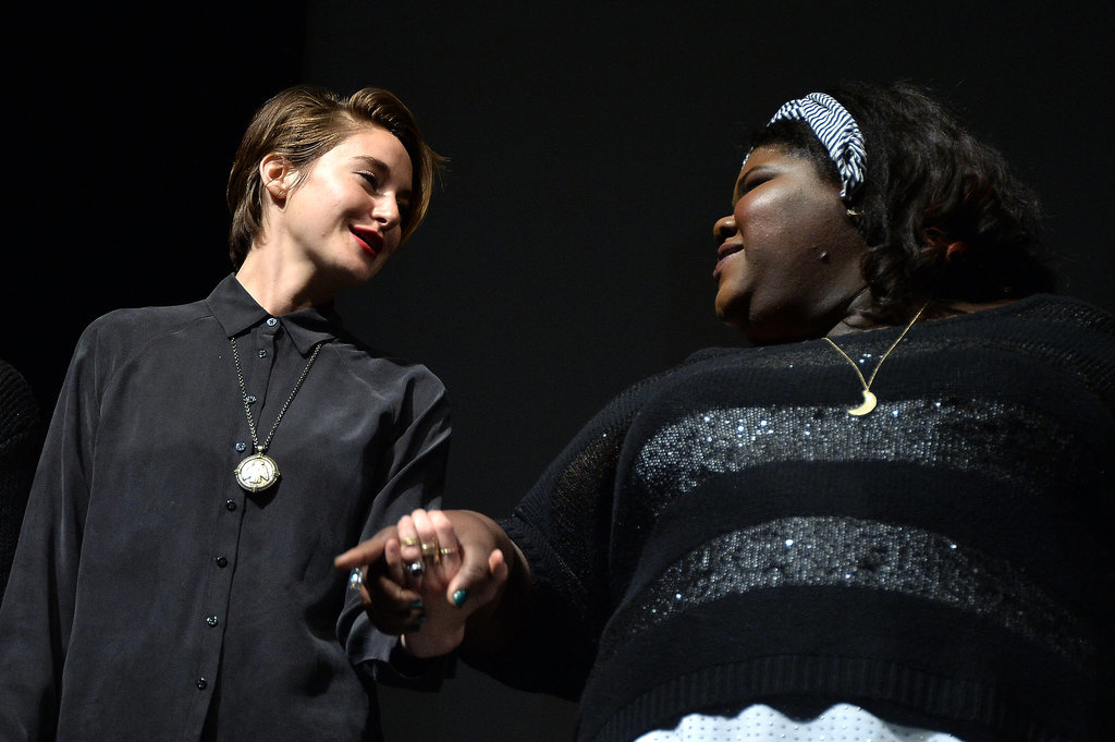 Shailene Woodley and Gabourey Sidibe held hands on Monday.