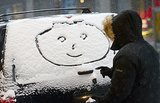 In Manhattan, a New Yorker took the opportunity to do some snow art.