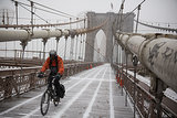 A cyclist wore ski goggles to ride his bike across the Brooklyn Bridge in New York.