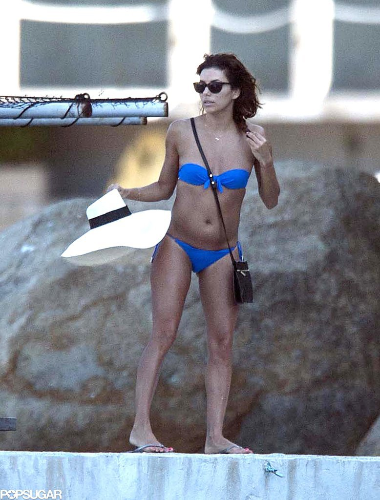 Eva Longoria wore a tiny blue bikini during her trip to Mexico.