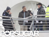 George Clooney flashed a friendly smile on the set of Tomorrowland in Valencia, Spain, on Wednesday.