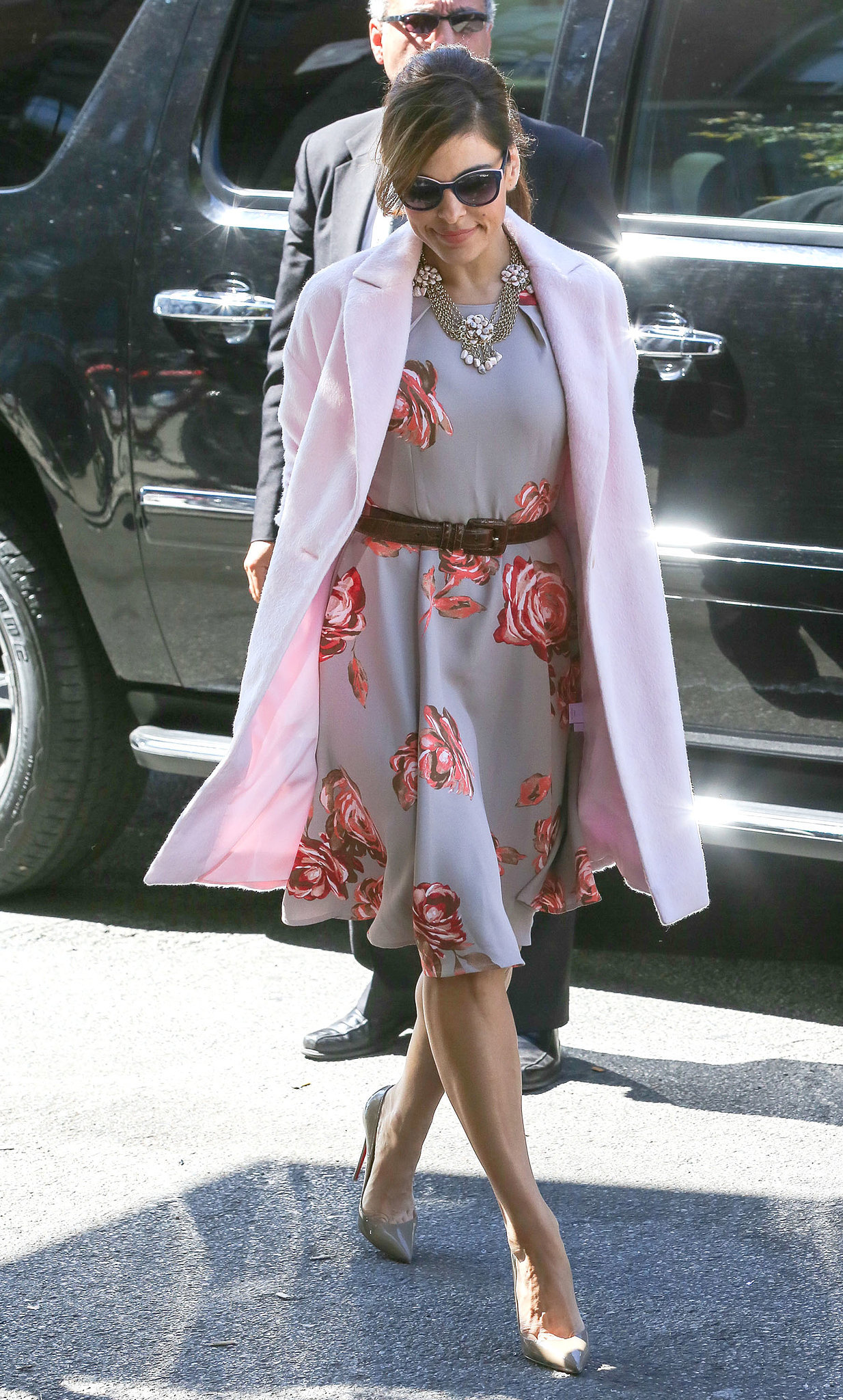 Donning one of her own blossoming creations from her New York & Co. collection, Eva Mendes looked