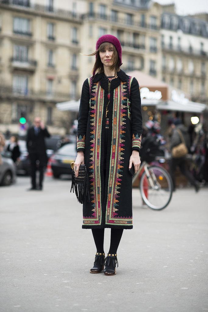 The much-photographed Anya Ziourova gave us a Winter gypset look.  Source: Le 21ème | Adam Katz Sinding
