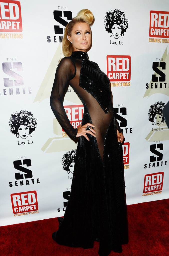 Paris Hilton wore a daring dress at the Senate Music Group celebration.