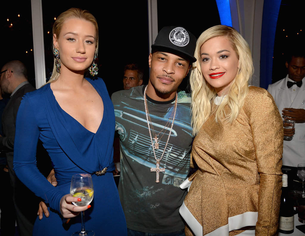 Iggy Azalea, T.I., and Rita Ora posed at the Grammys VIP Host Dinner.