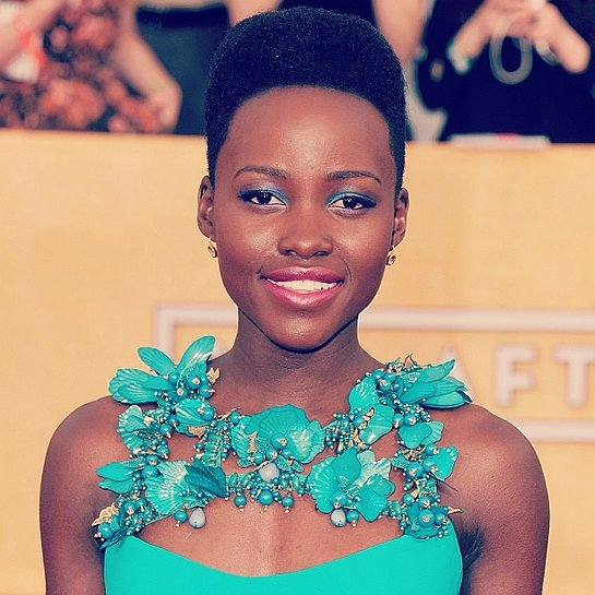 "On Instagram, we're sensing a theme — everyone loves Lupita. This blue-and-green beauty look from the SAG Awards red carpet got over 300 ""likes""!  Source: Getty via Instagram user POPSUGAR Beauty"