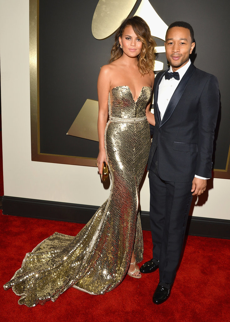 Chrissy Teigen and John Legend at the 2014 Grammy Awards.