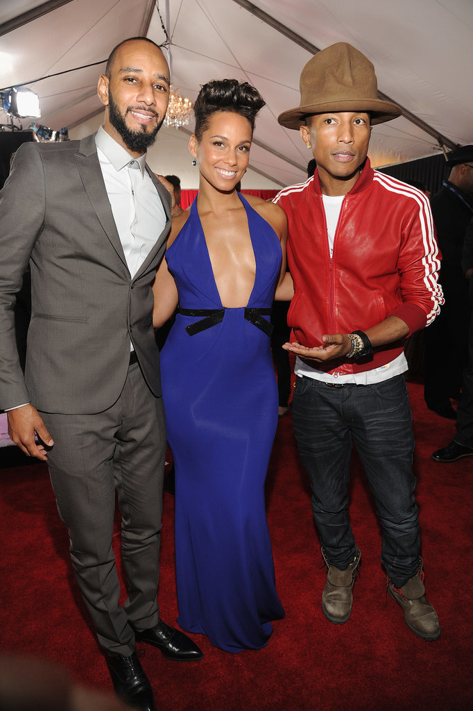 Swizz Beatz, Alicia Keys, and Pharrell Williams at the 2014 Grammy Awards.