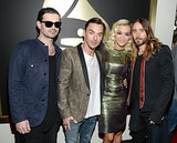 Jared, Shannon, and Tomo smiled with Rita Ora.