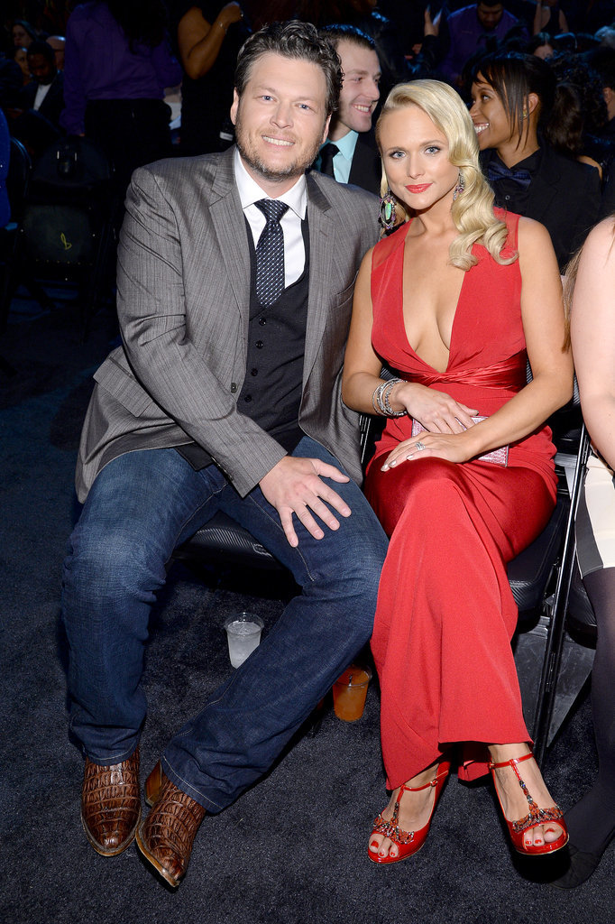 Miranda Lambert and Blake Shelton cozied up in their seats.