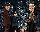 "Pink and Nate Ruess smiled while performing their duet ""Just Give Me a Reason."""