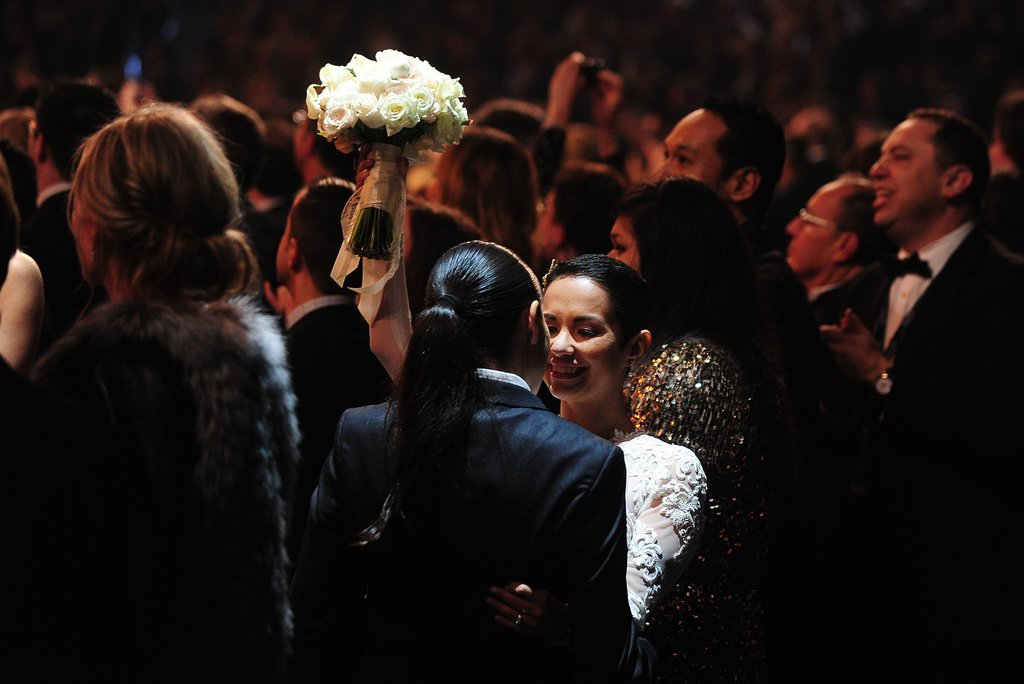 Couples filled the aisles to get married during the Grammys.
